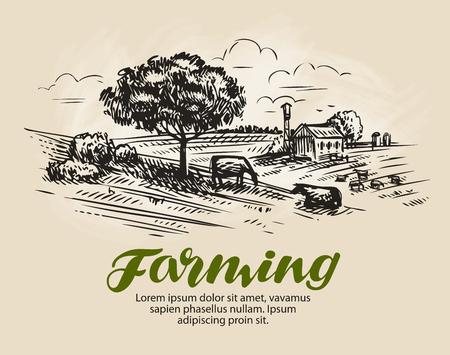 Farm schets. Vector Illustratie