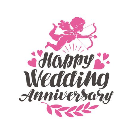 anniversario matrimonio: Felice illustrazione di nozze Anniversario. Vettoriali