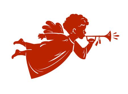 Silhouetkerstmisengel die een trompet blaast. Vector Illustratie