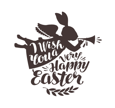 Happy Easter, greeting card. Rabbit, bunny blowing trumpet. Lettering, calligraphy vector illustration. Illustration