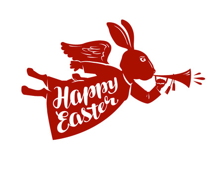 greeting season: Happy Easter, lettering. Rabbit, bunny symbol