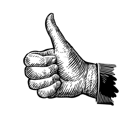 Simbolo pollice in su. Gesto di mano schizzo. illustrazione di vettore