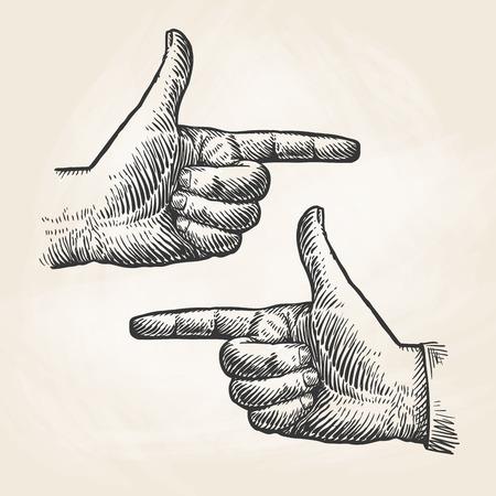 빈티지 손을 그리기를 가리키는입니다. 집게 손가락, 집게 손가락 스케치. 벡터 일러스트 레이 션