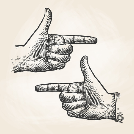 Dibujo de mano que señala la vendimia. El dedo índice, el dedo índice boceto. ilustración vectorial Foto de archivo - 71581281