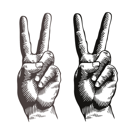 old people: Hand gesture peace sign, symbol. Sketch vector illustration