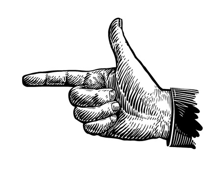 Hand, pointing finger. Sketch vector illustration