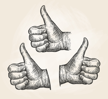 Hand, gesture thumbs up. Vintage sketch vector illustration