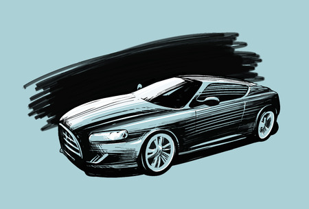 Sports car. Vehicle sketch vector illustration