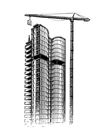 building sketch: Building skyscraper, sketch. City, construction vector illustration Illustration