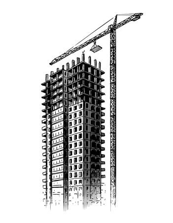 building sketch: Construction site with crane, vector illustration. Hand drawn building, house sketch Illustration