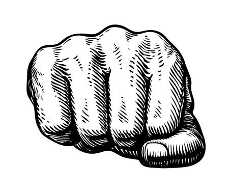 Fist, hand gesture sketch. Punch symbol. Vector illustration
