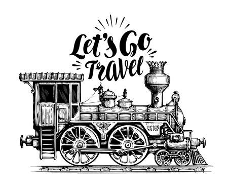vintage: Hand drawn vintage locomotive, steam train, transport. Railway engine vector illustration, sketch