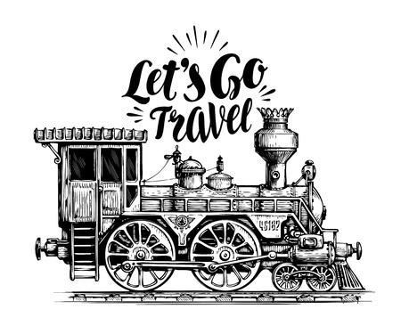 locomotive d'époque tirée par la main, train à vapeur, le transport. vecteur moteur ferroviaire illustration, croquis