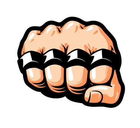 Clenched fist, brass knuckles.