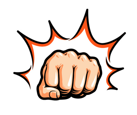 punching: Hand, fist punching or hitting. Comic pop art, symbol. Vector illustration