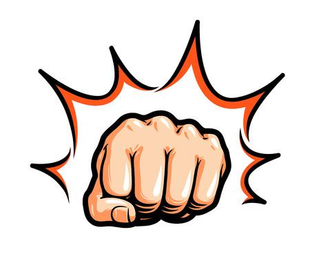Hand, vuist slaan of slaan. Komische pop-art, symbool. Vector illustratie