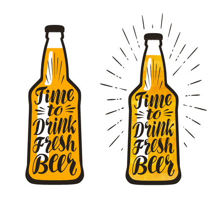 lager beer: Bottle of beer, lager. Time to drink fresh beer, lettering. Vector illustration isolated on white background