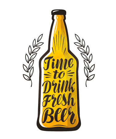 Bottle of beer, drink, brewery label. Lettering, calligraphy vector illustration. Design template for bar, pub or restaurant