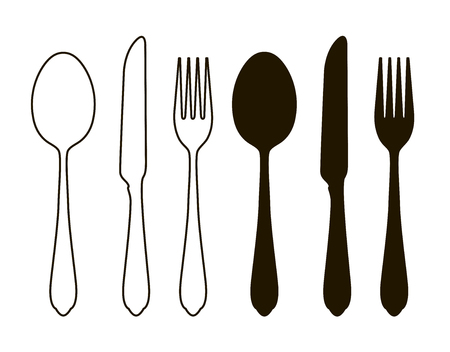 wedding table setting: Table setting, tableware. Cutlery, set of fork, spoon and knife. Silhouette vector illustration