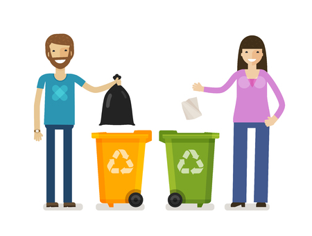 Trash bin, garbage can in flat design style. Ecology, environment symbol, icon. Cartoon vector illustration.