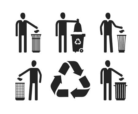 bagful: Trash can or bin with human figure. Recycling, do not litter set of icons or symbols. Vector illustration