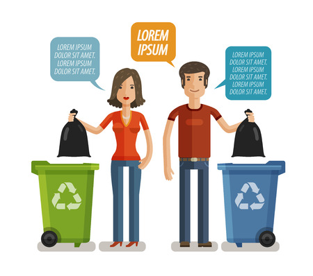 Bidone della spazzatura, bidone dei rifiuti, contenitore dei rifiuti, infografica cassonetto. Tenersi puliti o non sporcare, concetto. cartone animato