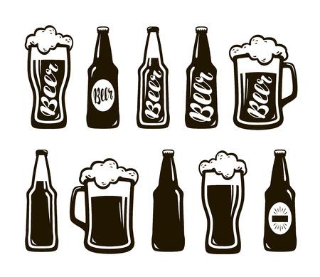 lager beer: Glass of beer, ale, lager. Mug, bottle set of icons. Oktoberfest, restaurant, pub, bar symbol. Vector illustration