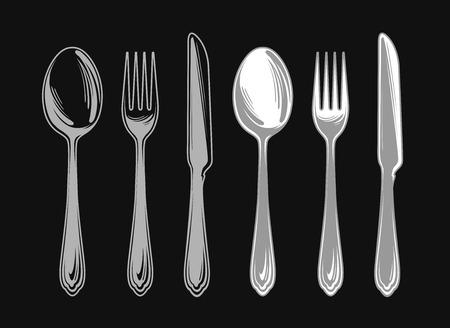 banket: Set of fork, spoon and knife. Cutlery tableware. Elements for design menu restaurant or cafe, diner. Vector illustration Illustration