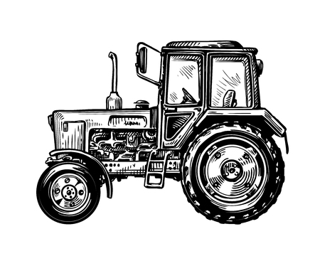 Hand-drawn farm truck tractor. Transport sketch vector illustration Stock Illustratie