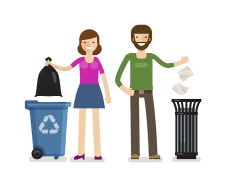 Homem, mulher joga lixo na lata de lixo. Ecologia, ilustração vetorial de remoção de lixo
