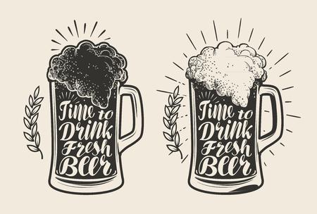 Vidrio, jarra de cerveza con espuma. Fábrica de cerveza, bebida, símbolo de cerveza. Letras, ilustración vector de la caligrafía