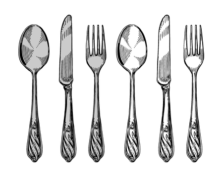 banket: Hand-drawn tableware, view top. Silver cutlery such as knife, spoon, fork. Sketch vector illustration Illustration
