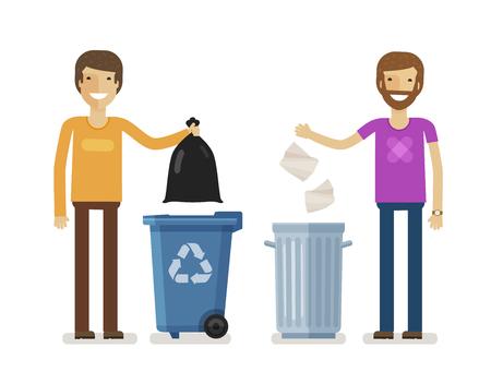 junkyard: Human, man throws rubbish in garbage bin. Volunteering people, ecology, environment concept. Flat characters vector illustration Illustration