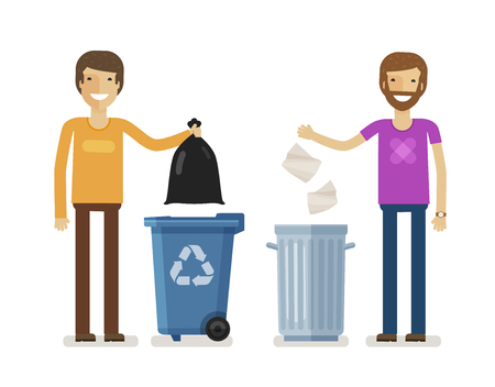 Human, man throws rubbish in garbage bin. Volunteering people, ecology, environment concept. Flat characters vector illustration Illustration
