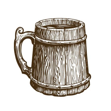 Hand-drawn vintage wooden mug of craft beer. Ale, brew, drink symbol. Sketch vector illustration Ilustração