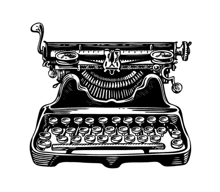 Hand-drawn vintage typewriter, writing machine. Publishing, journalism symbol. Sketch vector illustration