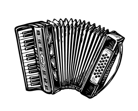 Hand-drawn accordion, bayan. Music instrument, chanson, melody symbol Sketch vector