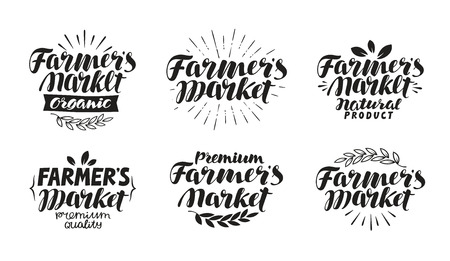 commerce: Farmers market, label. Farm, farming, agriculture symbol. Lettering, calligraphy vector illustration Illustration