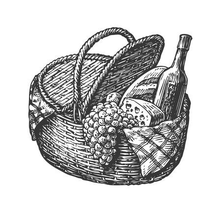 Vintage wicker picnic hamper or basket with food such as bottle of wine, cheese, bunch grapes, loaf. Sketch vector illustration Illustration