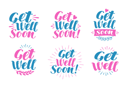 infirmary: Get well soon, greeting card. Visiting sick, banner. Lettering, calligraphy vector illustration