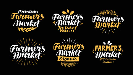 non: Farm or agriculture label. Farmers market, handwritten inscription. Lettering, calligraphy vector illustration