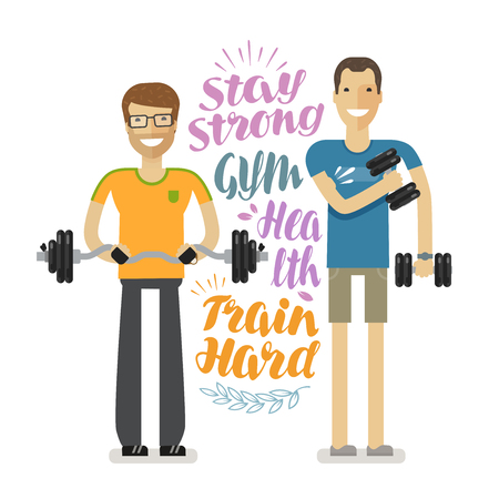 strong: People in gym. Sport, bodybuilding concept, cartoon. Vector illustration drawn in flat style