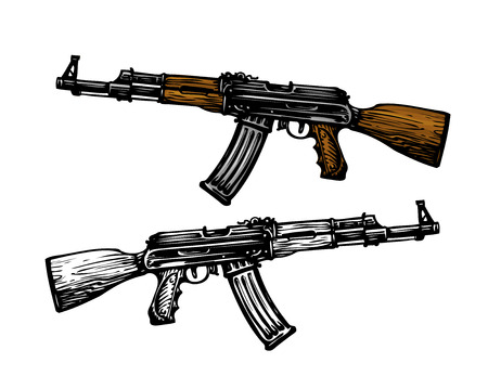 soldiers: Weaponry, armament symbol. Automatic machine AK 47. Kalashnikov assault rifle, sketch. Vector illustration