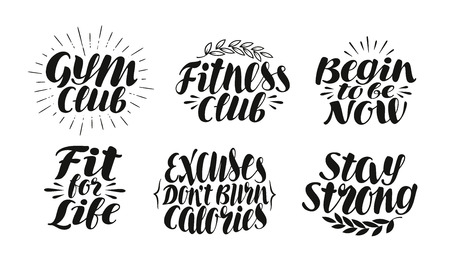 burning: Fitness, sport, gym label. Motivation concept, symbol. Lettering, calligraphy vector illustration isolated on white background
