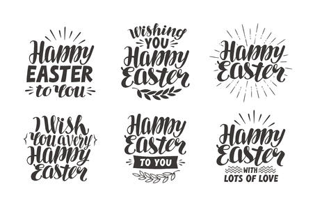 holiday symbol: Happy Easter, greeting card. Religious holiday label, symbol. Lettering, calligraphy vector illustration