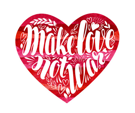 hacer el amor: Make love not war, label. Decorative lettering, calligraphy in shape of heart. Hippie, pacifism symbol. Vector illustration