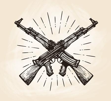 Hand-drawn crossed automatic machines of Kalashnikov, sketch. Weapon vector illustration Vettoriali