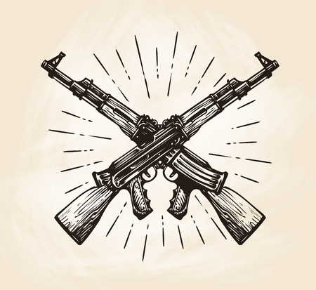 Hand-drawn crossed automatic machines of Kalashnikov, sketch. Weapon vector illustration Illustration