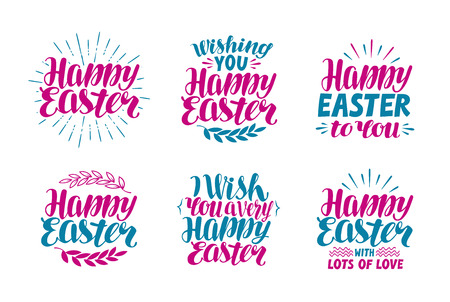 holiday symbol: Easter labels. Holiday symbol, icon. Lettering, calligraphy vector illustration isolated on white background Illustration