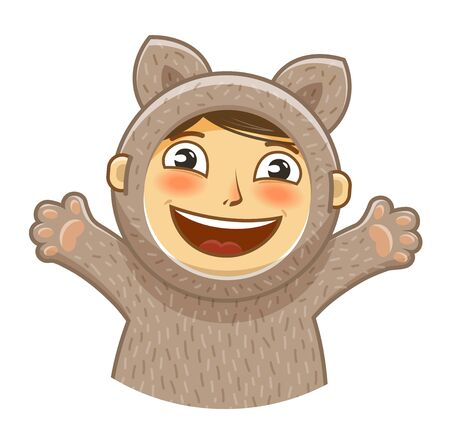 humor: Happy kid. Childrens party cartoon. Vector illustration